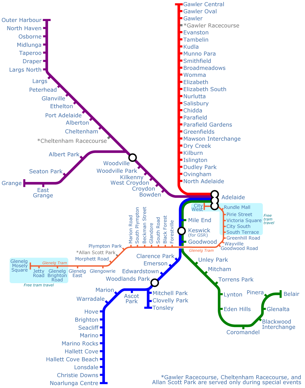Adelaide Metro System Map (subway)