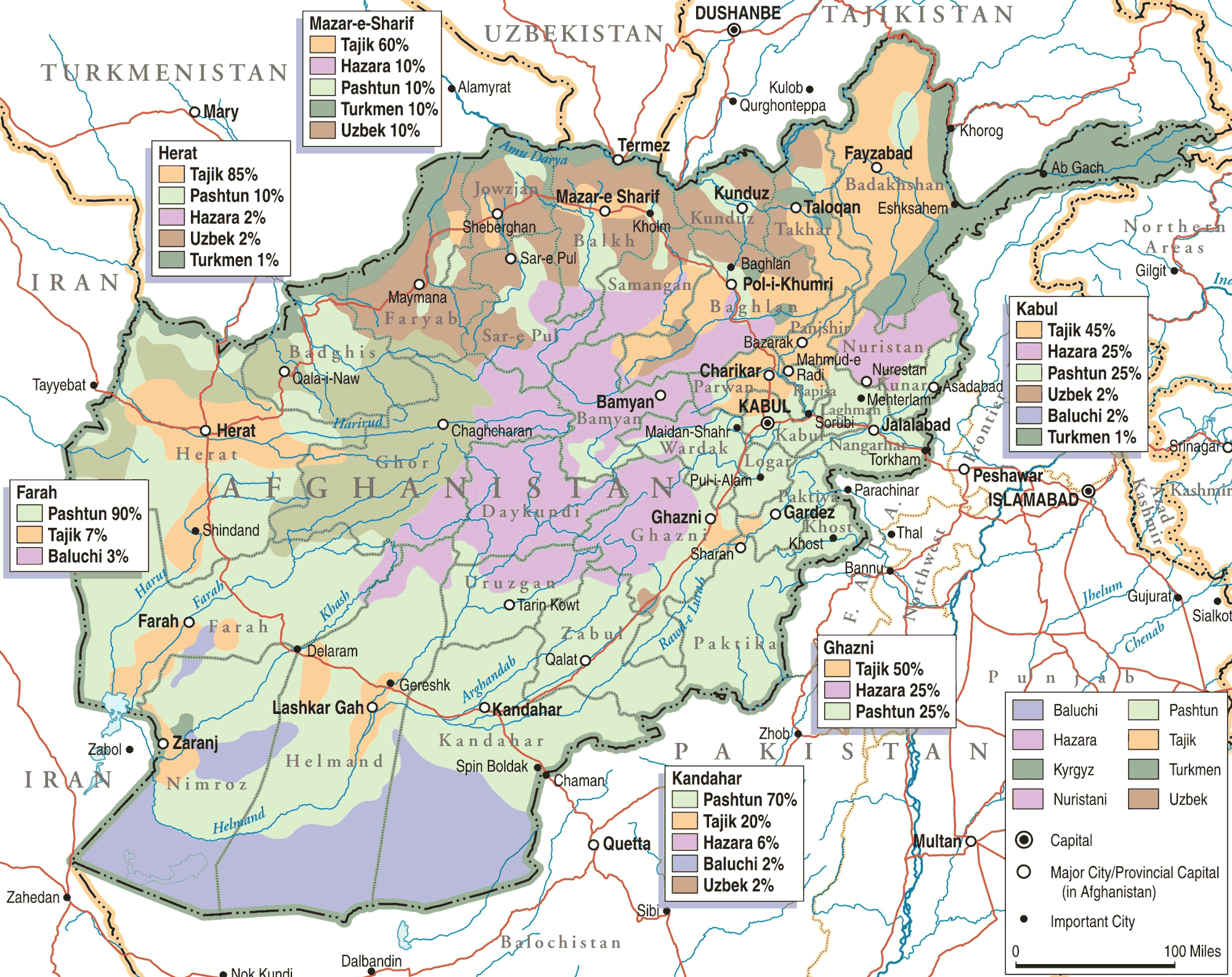 Afghanistan Ethno Linguistic Groups large map