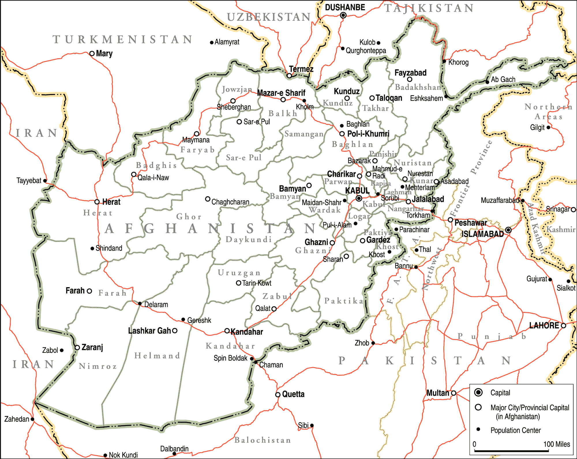 Afghanistan Political Map Full large map