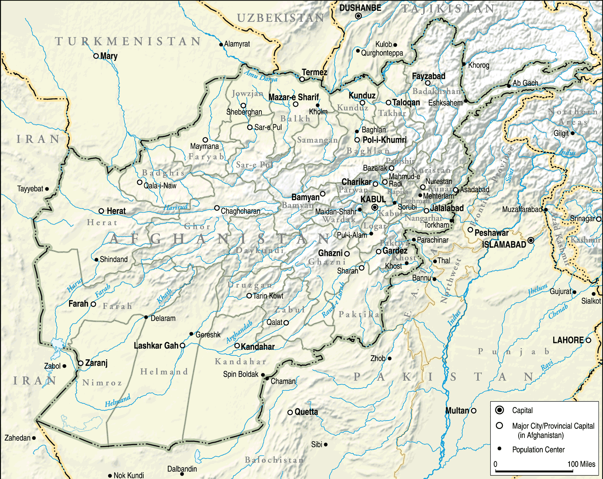 Afghanistan Topographical Map large map