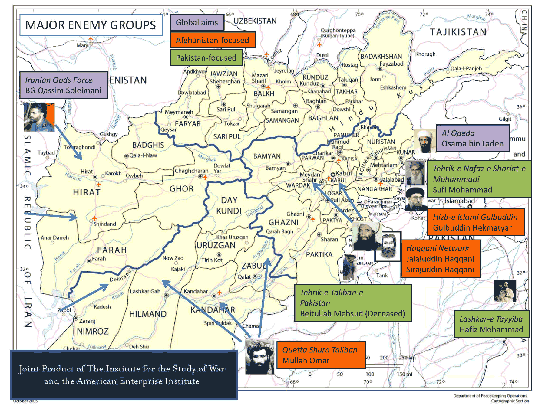 Afghanistan Major Enemy Groups large map