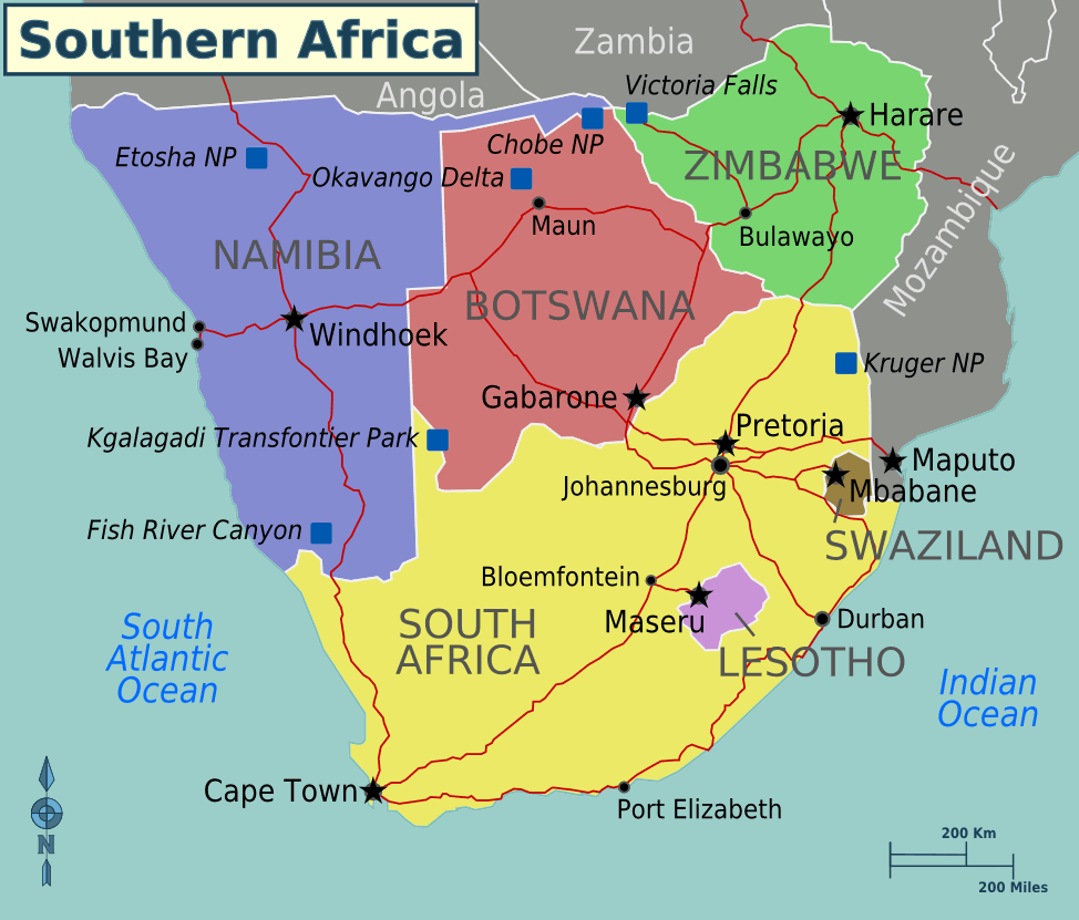 Africa Southern Africa Regions Mapsofnet