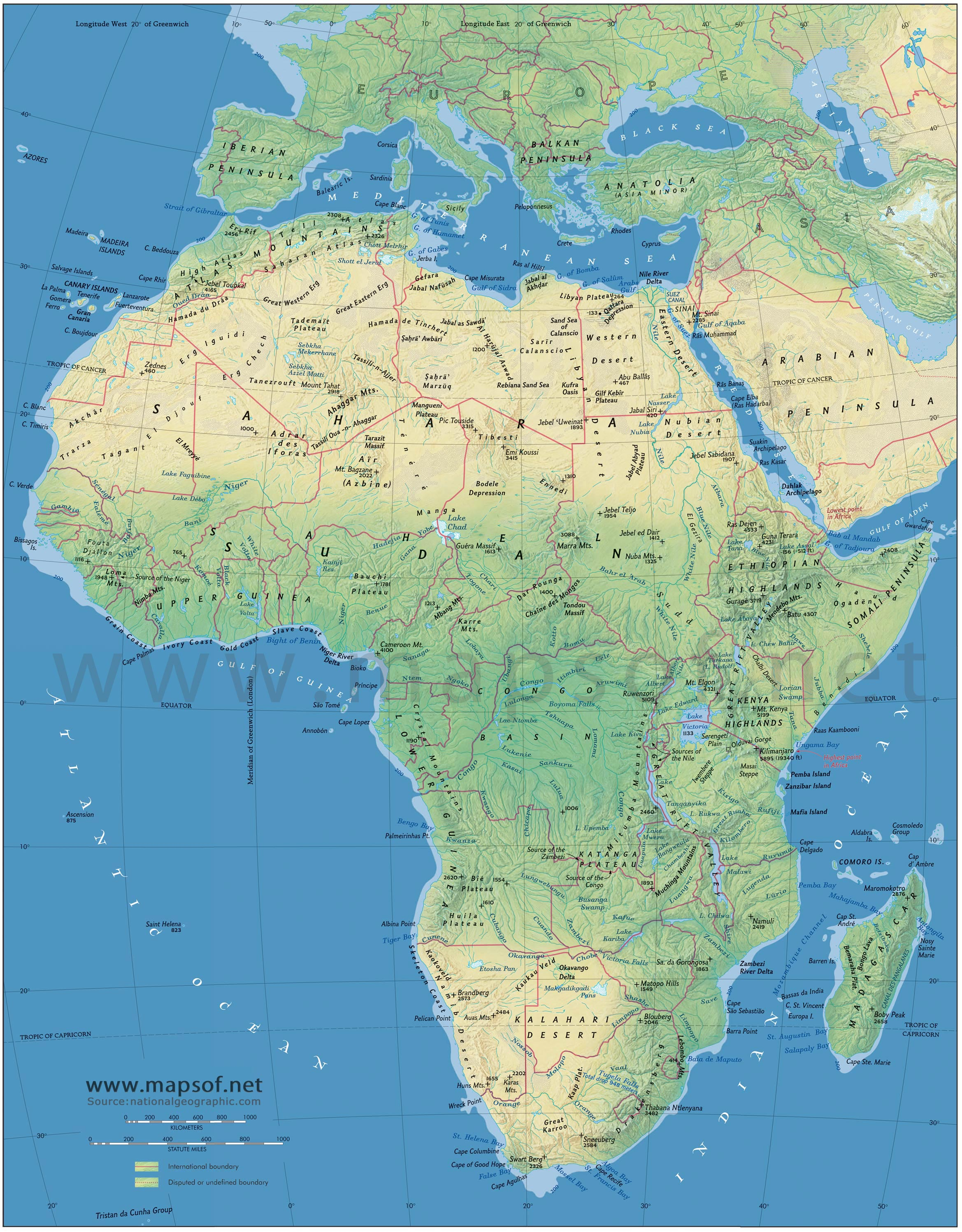 Africa Physical Map 1 large map