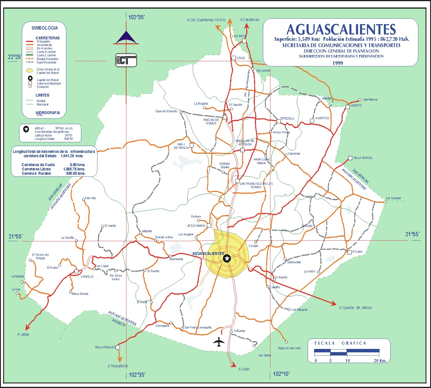 Aguascalientes Mexico Road Map Mapsofnet - Mexico road map
