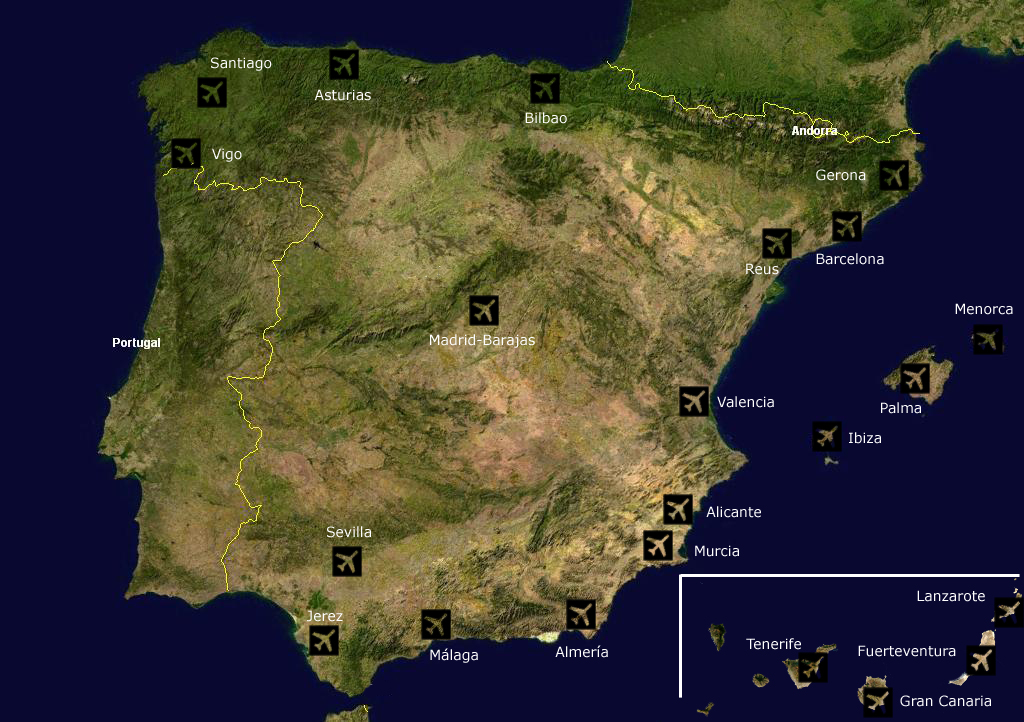 Airports Spain Satellite Map large map