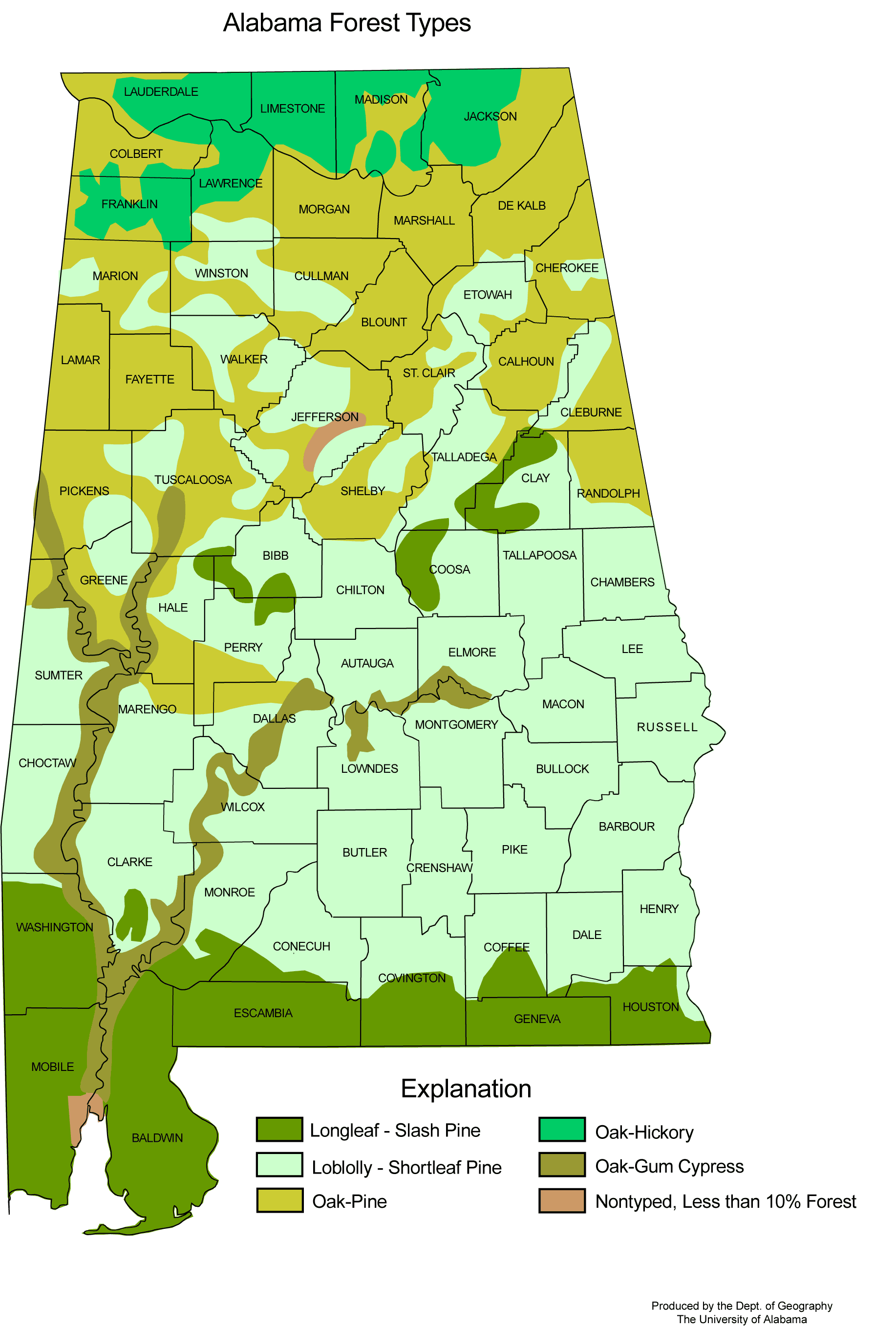 Alabama Forest Types large map