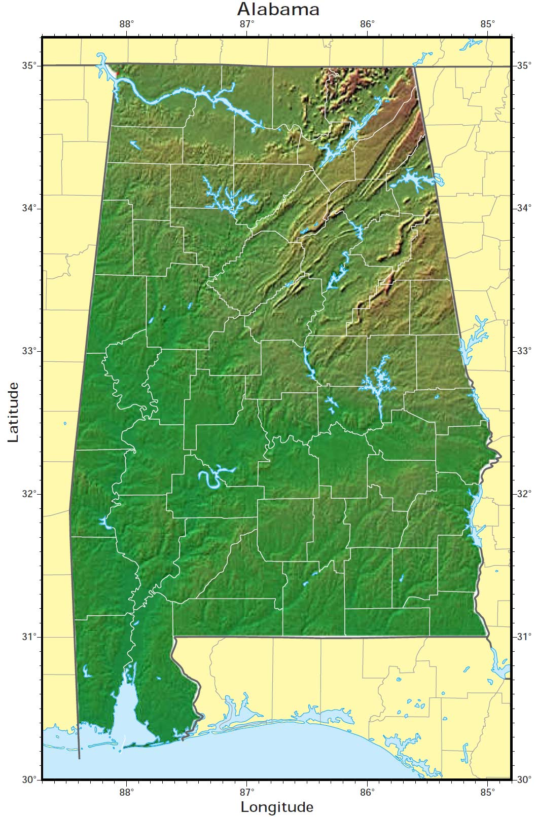 Alabama Relief Map large map