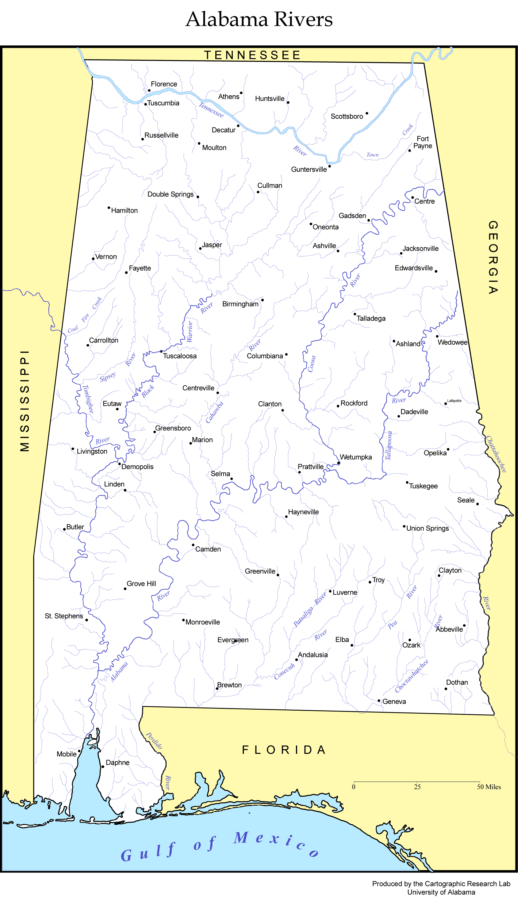 Albama Rivers Map Mapsofnet - Alabama rivers map