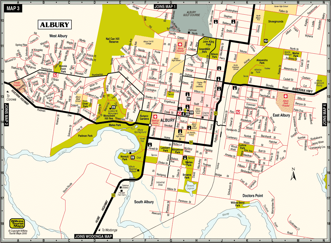 Albury City Map Mapsofnet