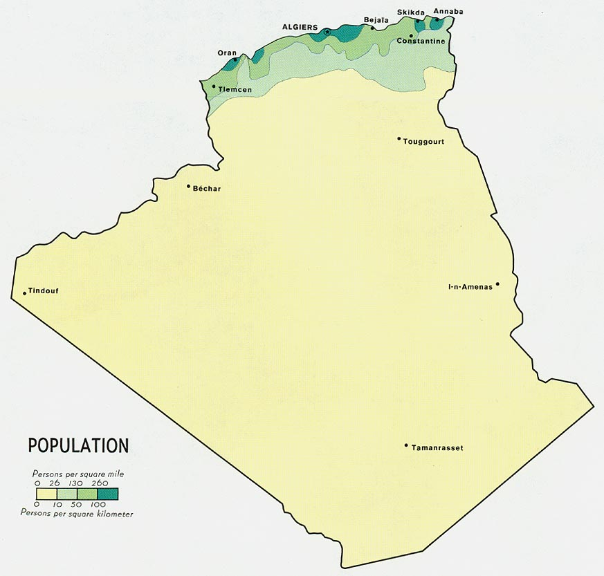 Algeria Population Map 1971 large map