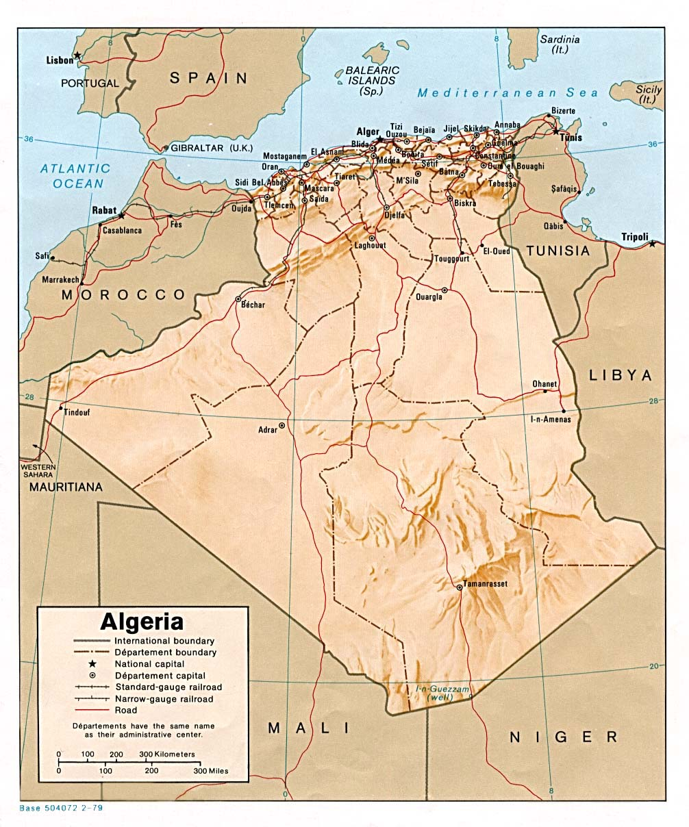 Algeria Shading Relief Map 1979 large map