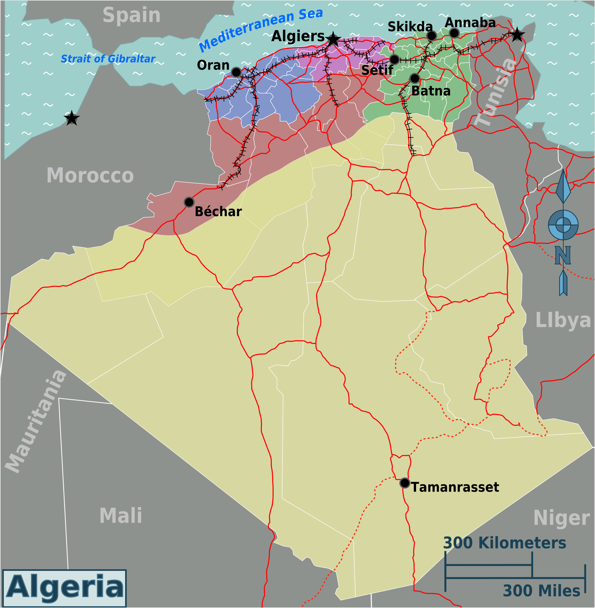 Algeria Regions Map Mapsofnet - Algeria map
