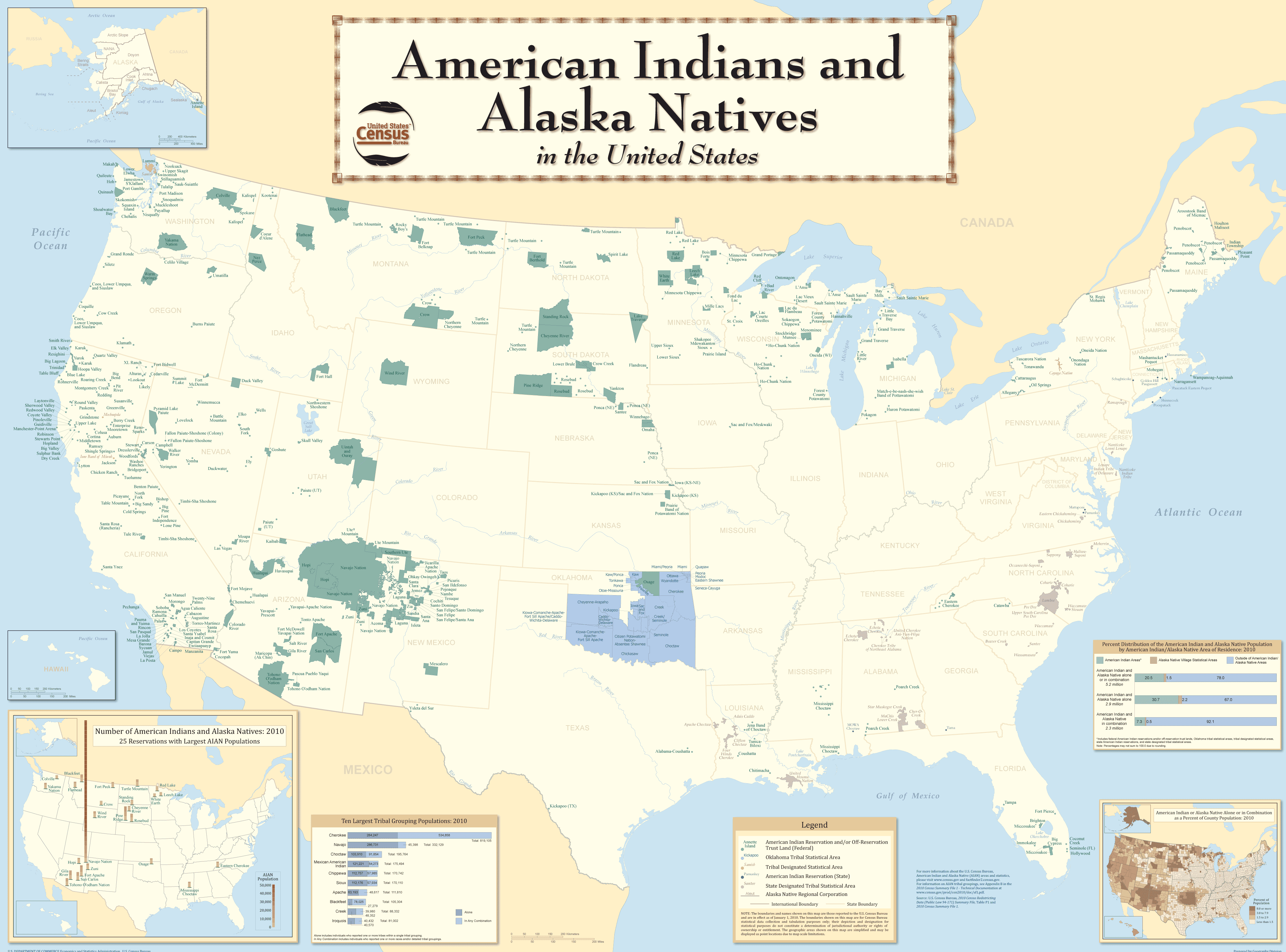 American Indians In The United States large map