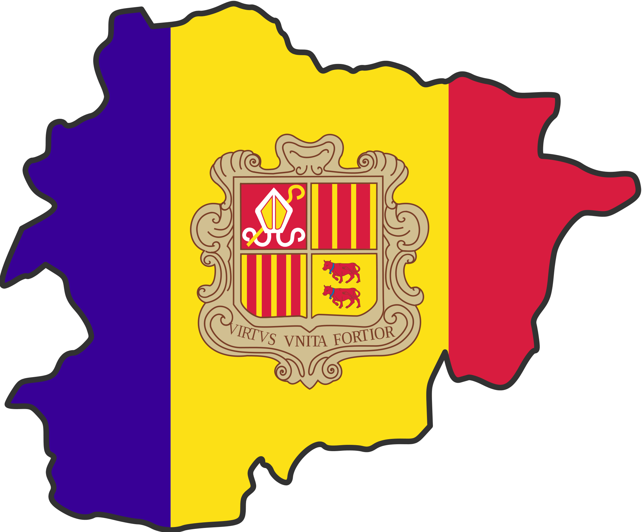 Andorra Flag Map large map