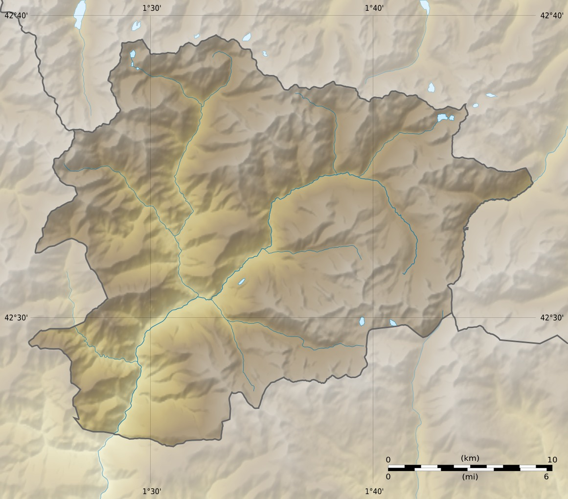 Andorra Relief Map large map
