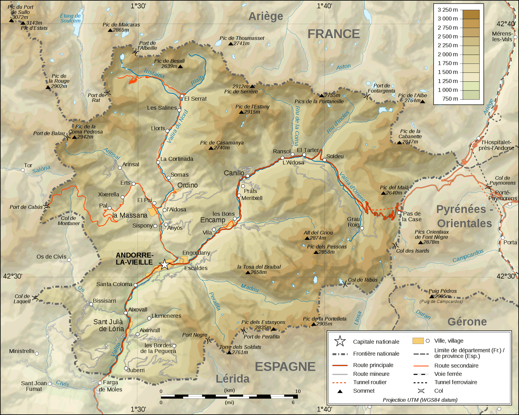 Andorra Topographic Map Fr large map