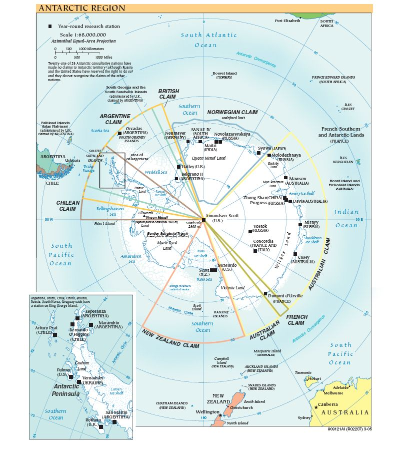 Antarctica Political Map large map