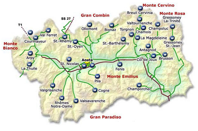 Aosta Valley Tourism Map Mapsofnet