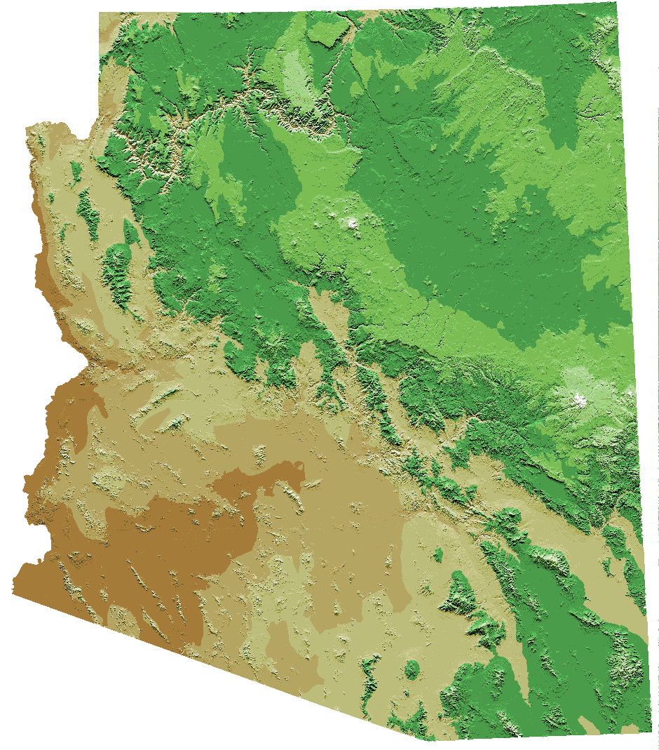Arizona Relief Map large map