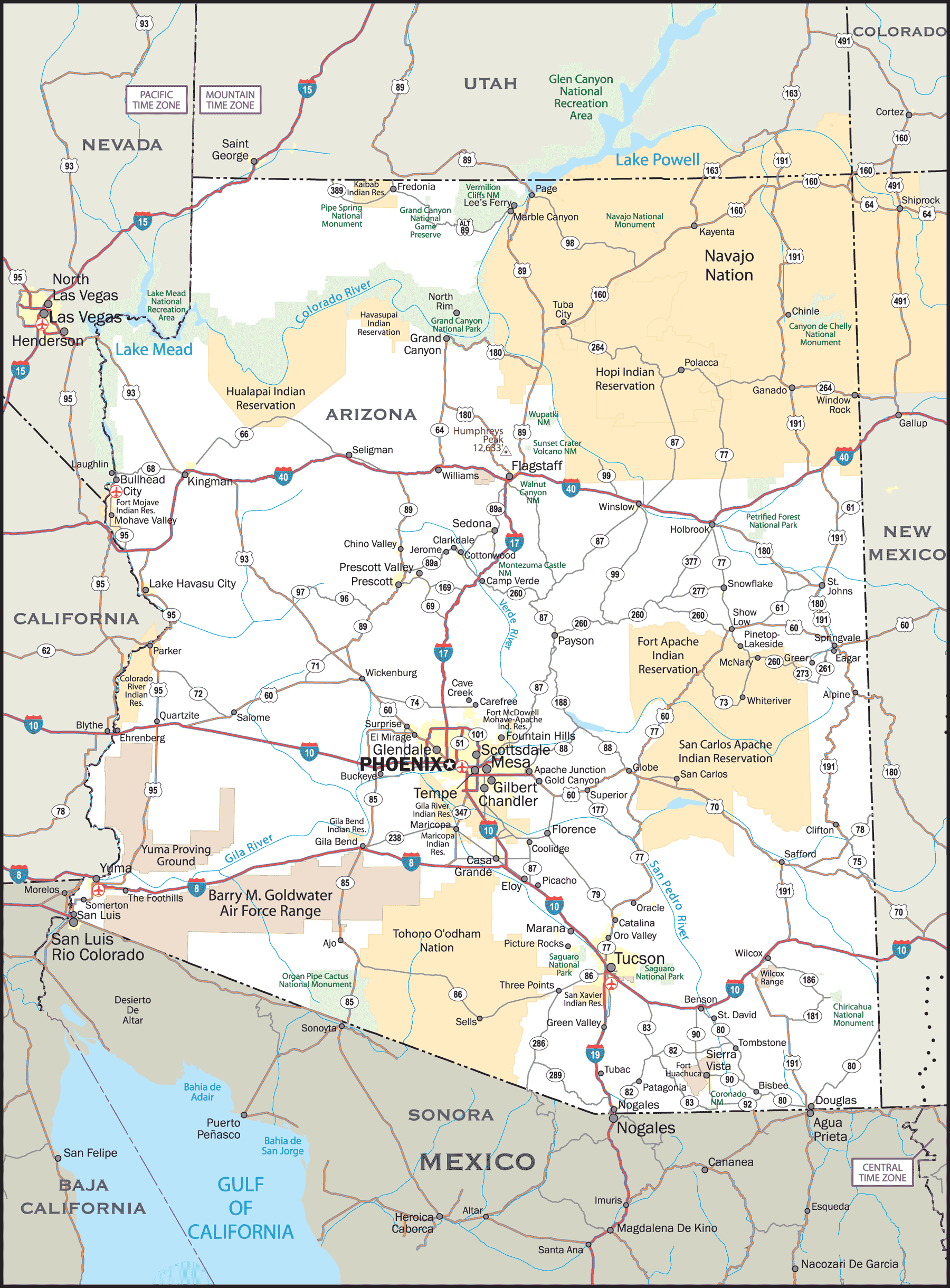 A Map Of Arizona State.Arizona State Map Mapsof Net