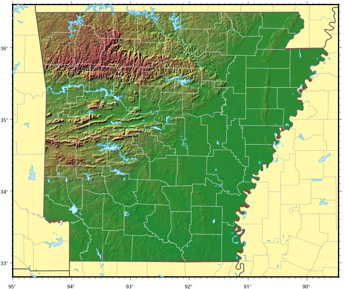 Arkansas Relief Map large map