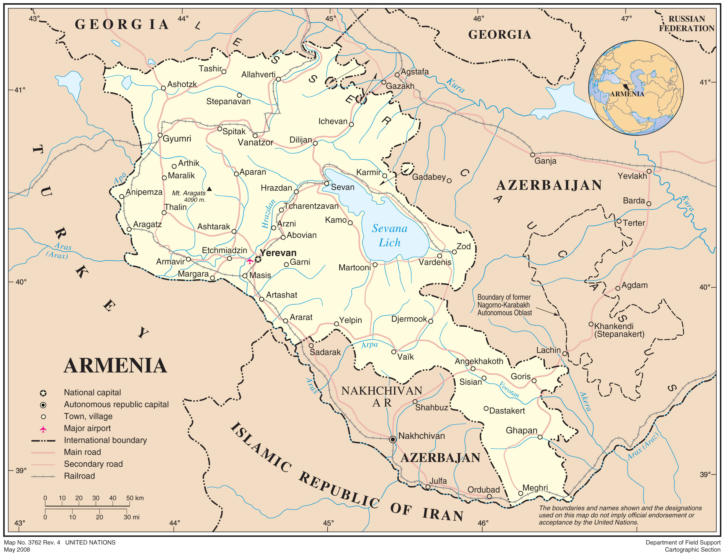 Armenia Political Map large map