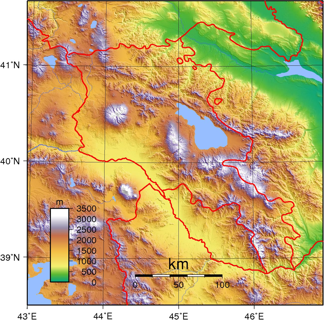 Armenia Topography large map