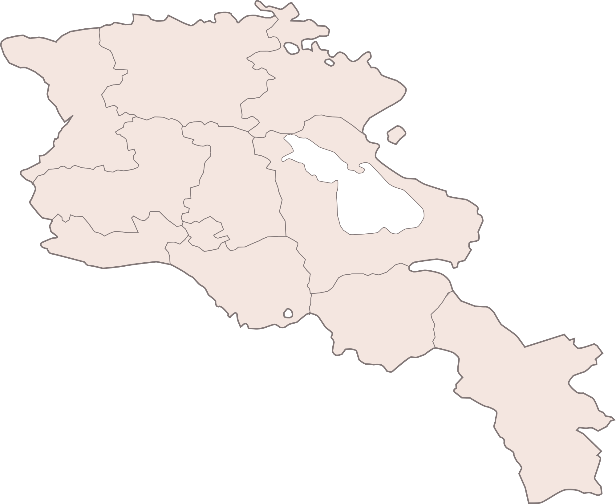 Armenia Blank Map large map