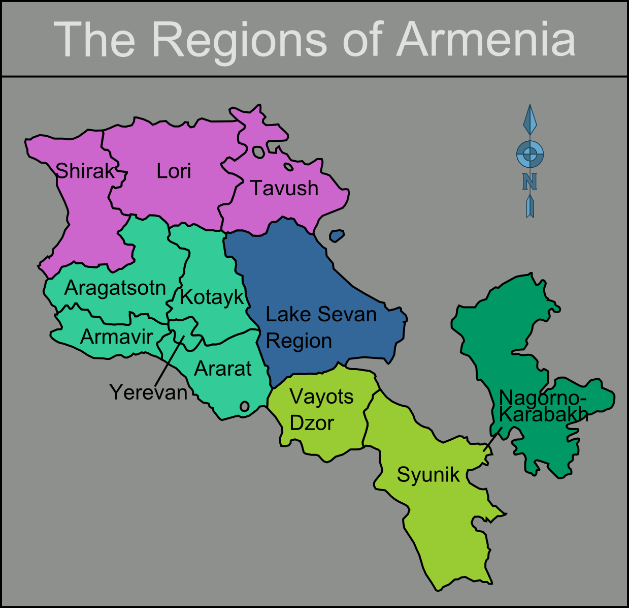 Armenia Regions Map large map