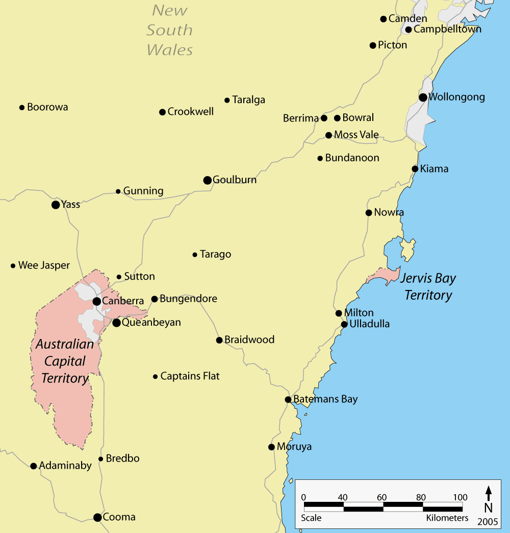 Australian Capital Territory Location Map large map