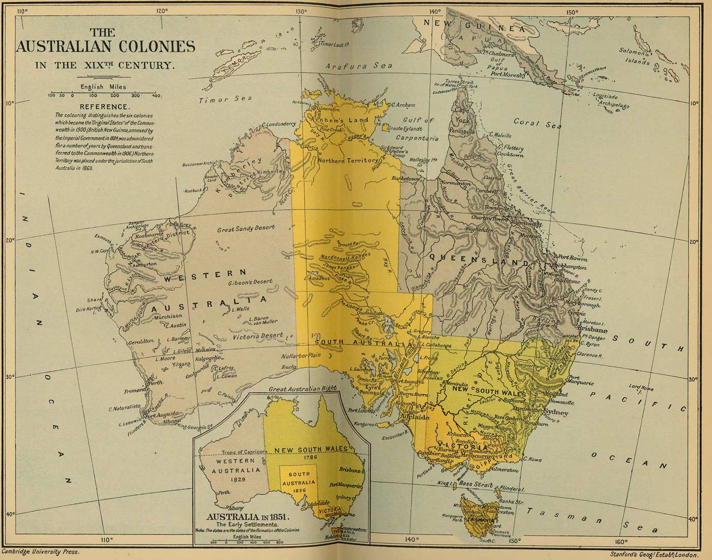 Australian Colonies Historical Map large map
