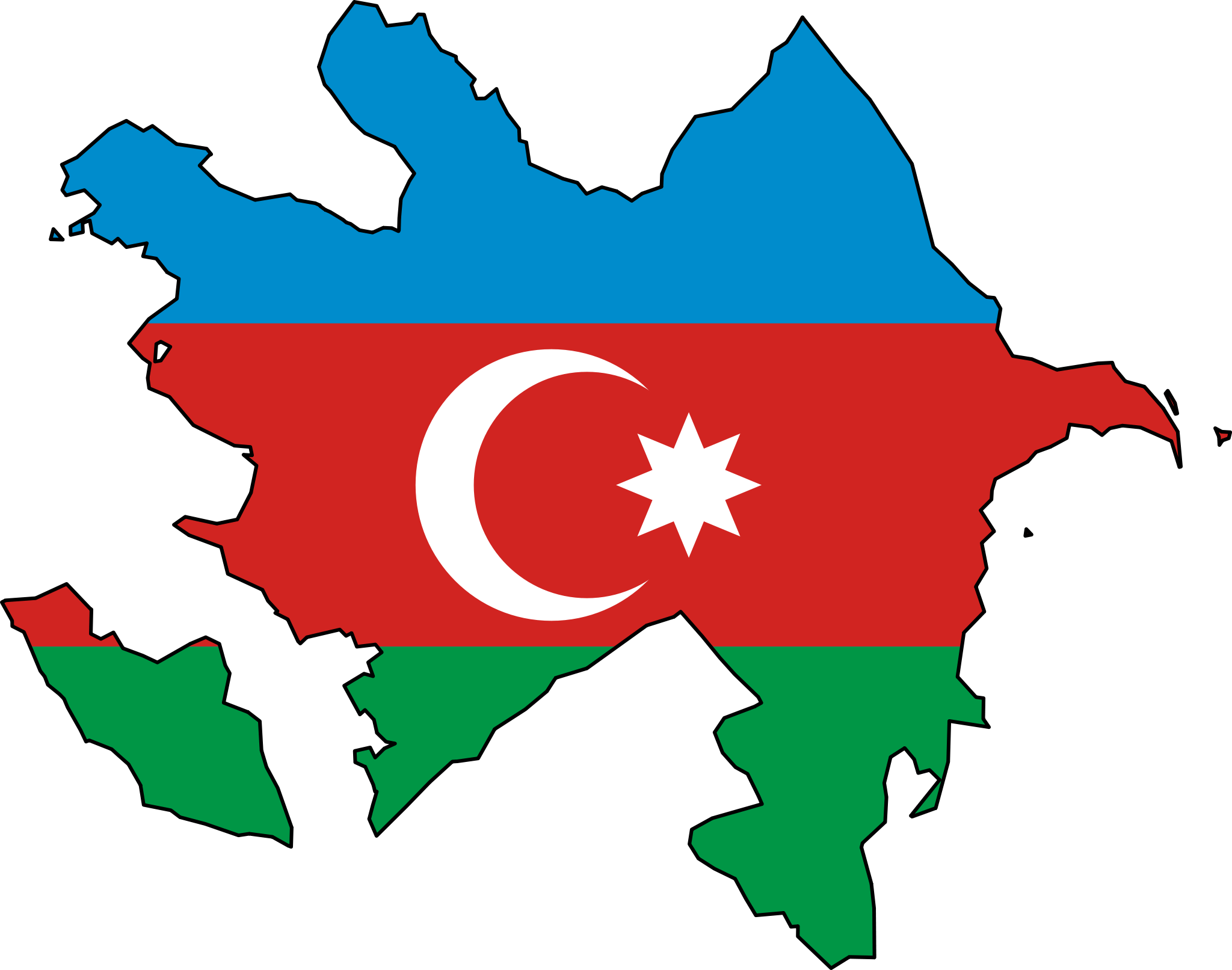 Azerbaijan Flag Map large map