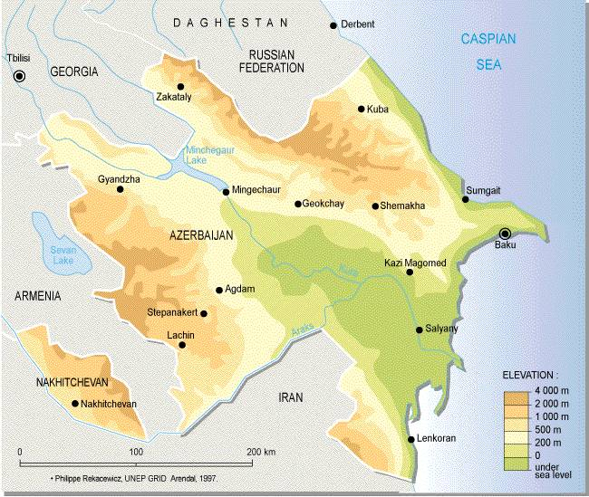 Azerbaijan Map Topo large map