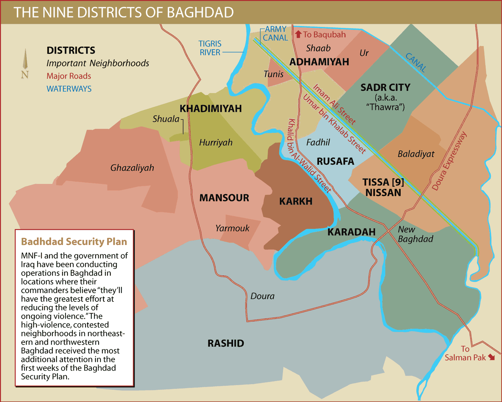baghdad city districts large map