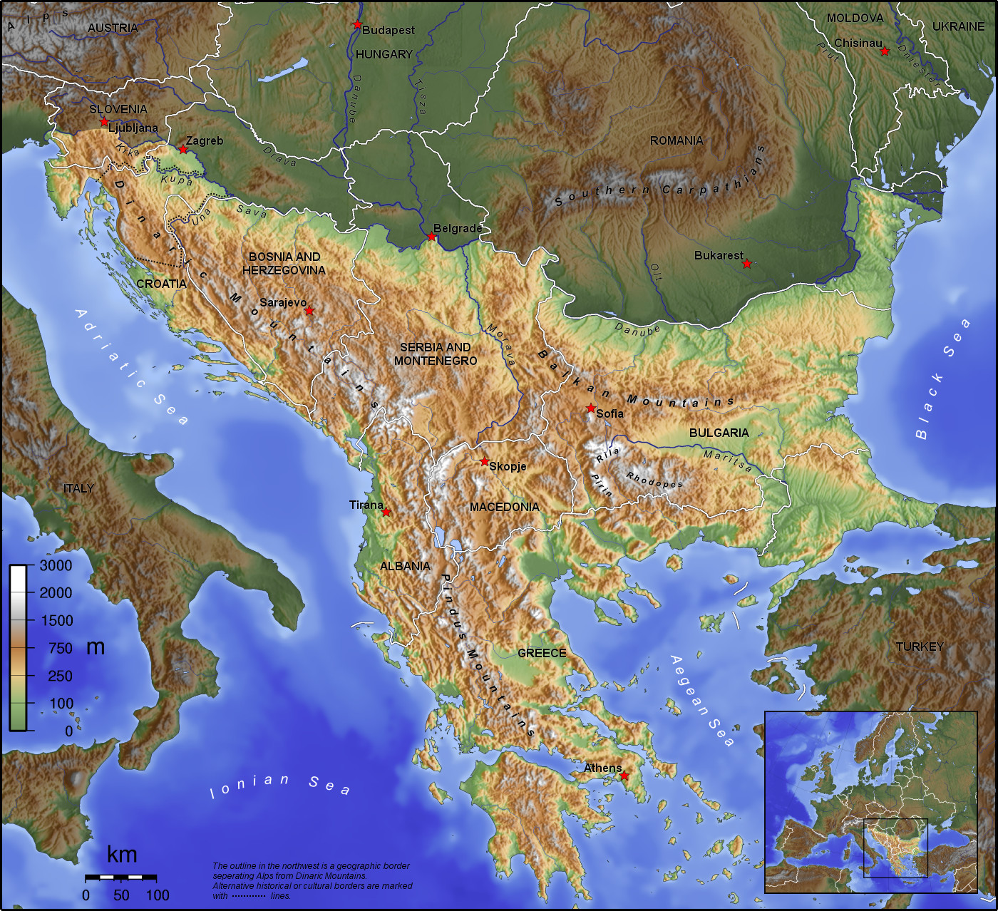 Balkans Topographic Map large map