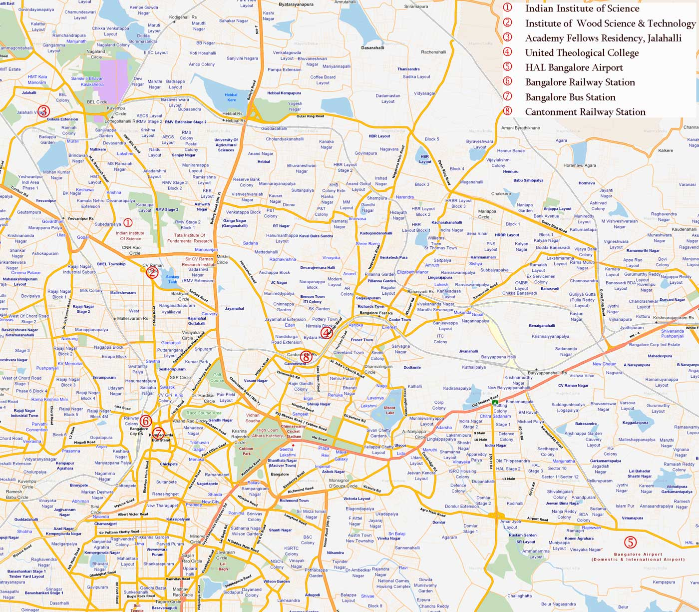 Bangalore maps. Click on the Bangalore Map to view it full screen