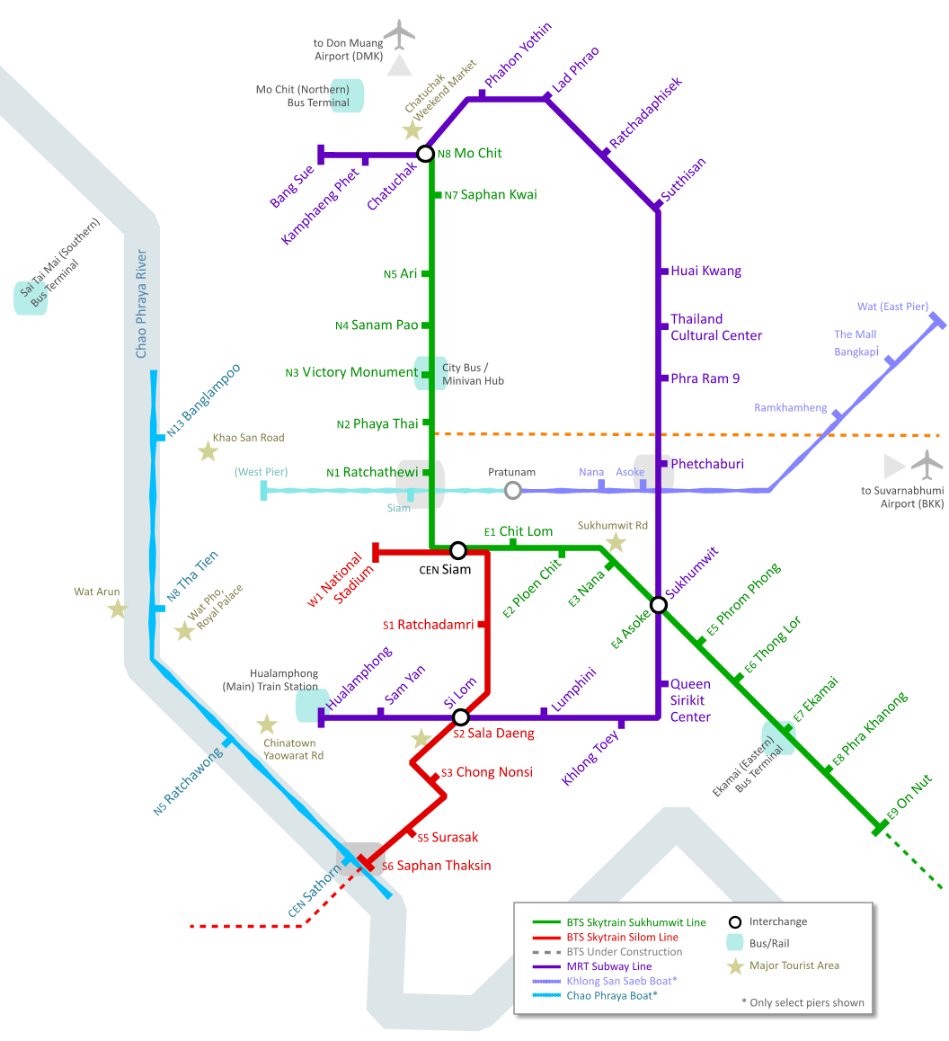 Bangkok Transportation Map Mapsofnet