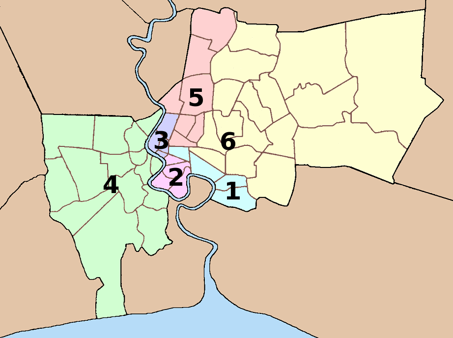 Bangkok Administrative Map Districts large map