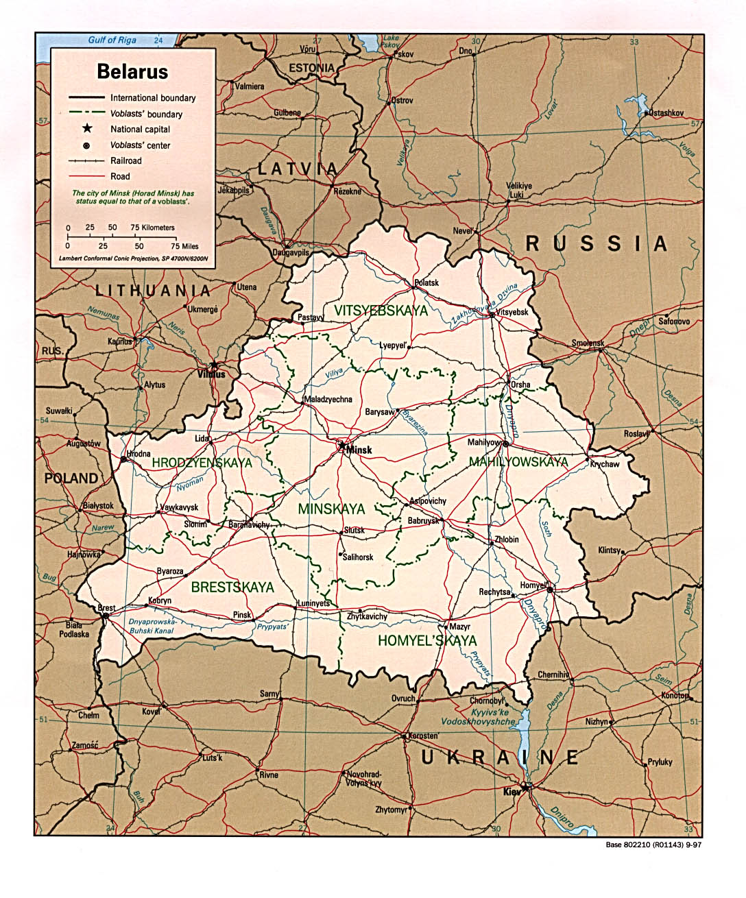 Belarus Political Map 1997 large map