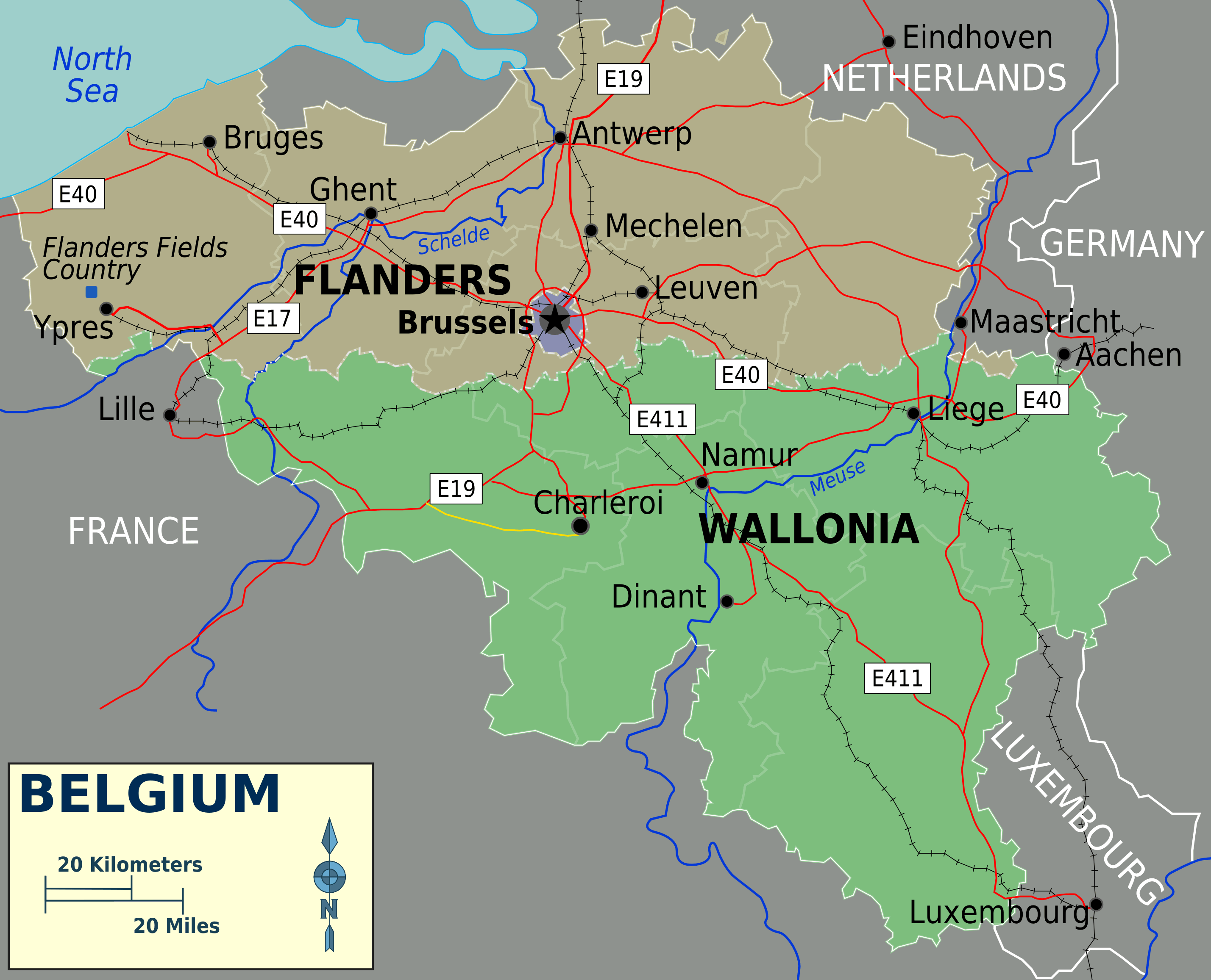 Belgium Political Map Mapsofnet – Map of Belguim