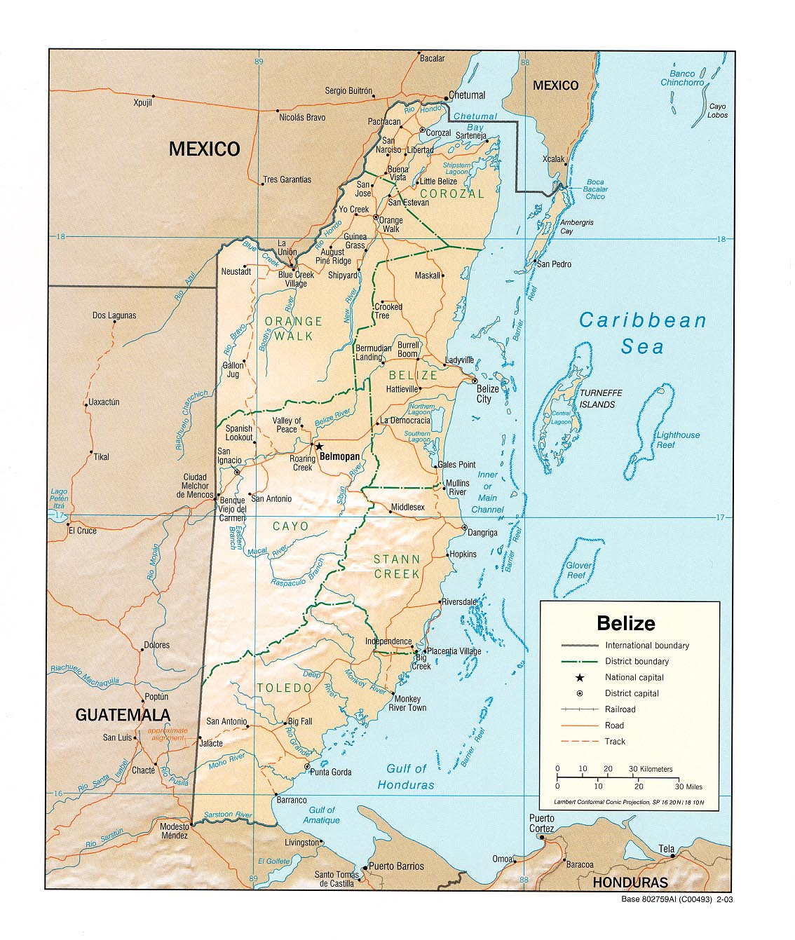 Belize Physical Map large map