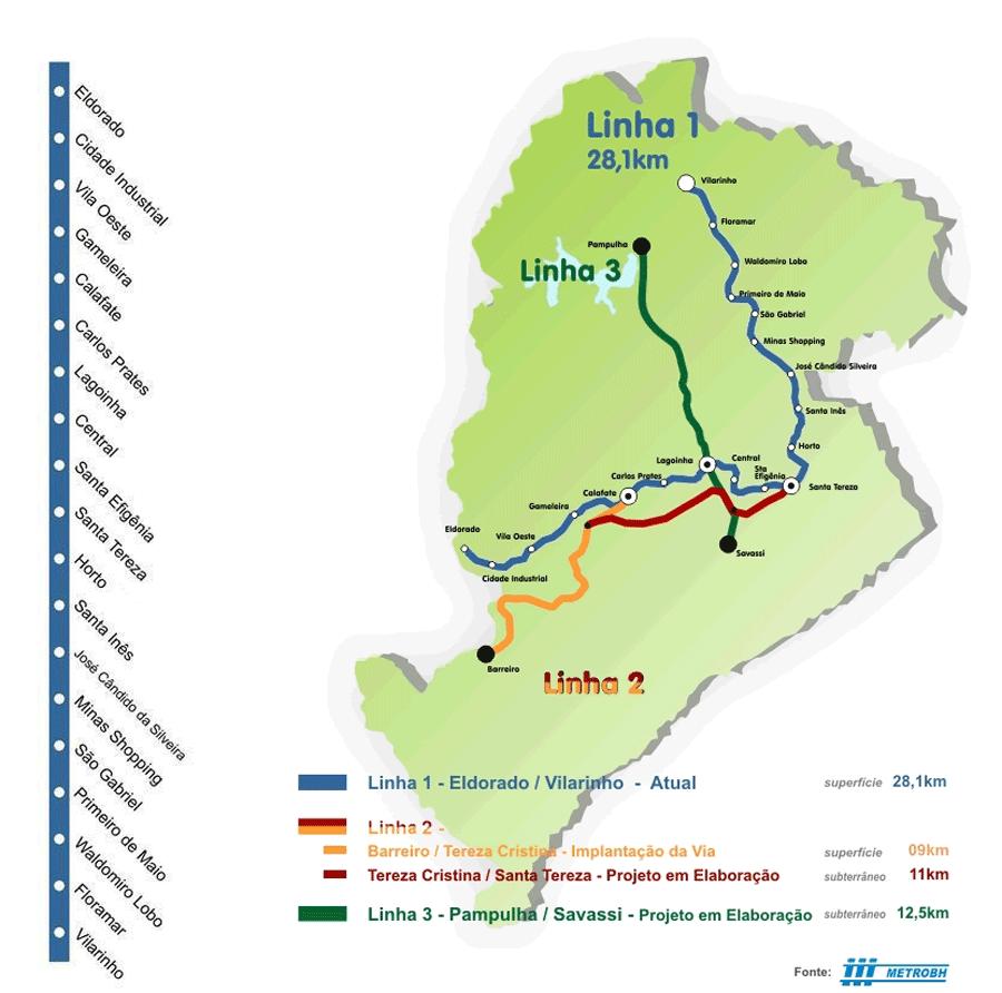 Belo Horizonte Metro Map (subway) large map