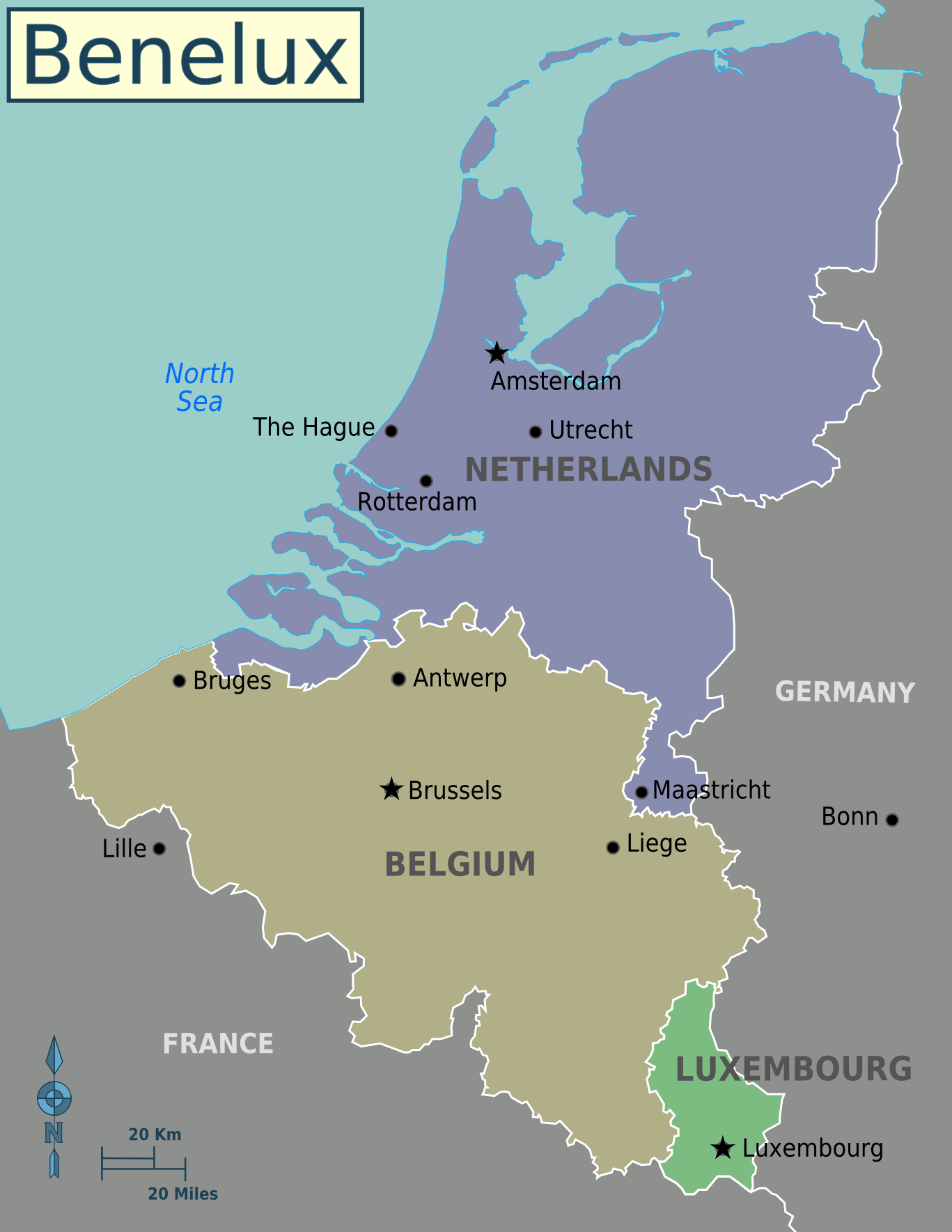 Benelux countries map benelux maps