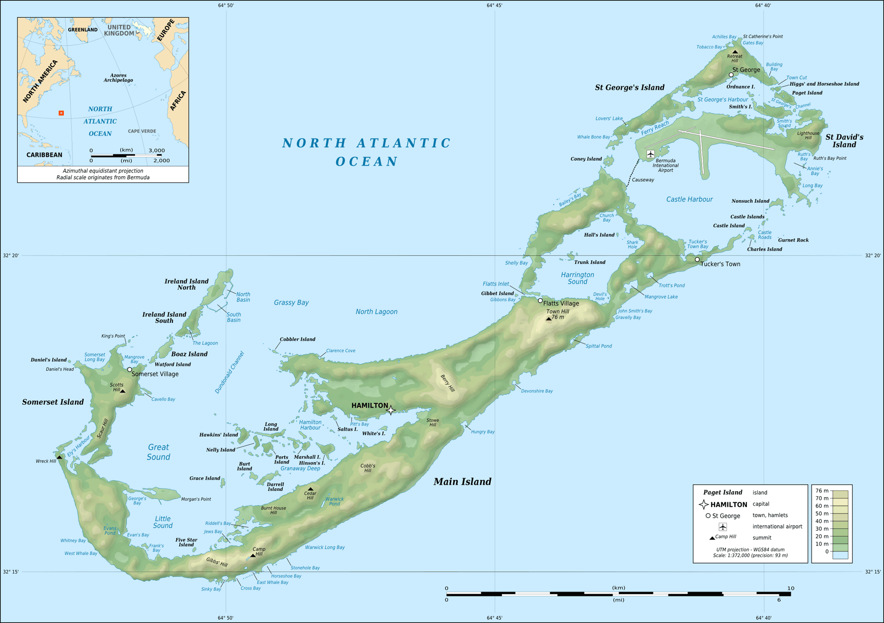 Bermuda Topographic Map large map