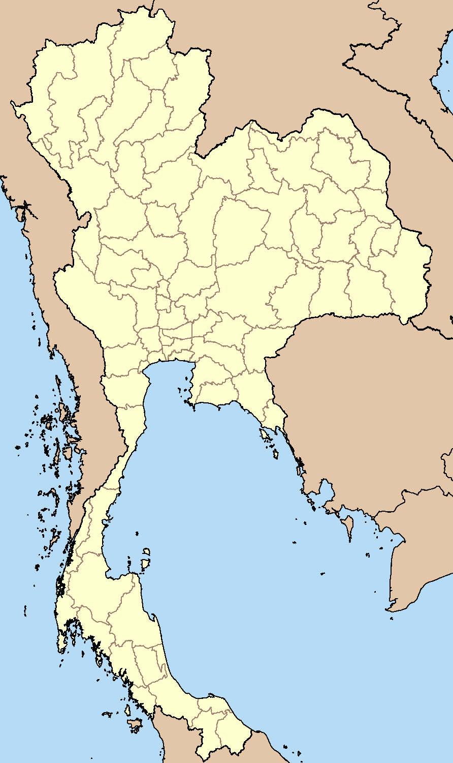 Blank Map Thailand large map