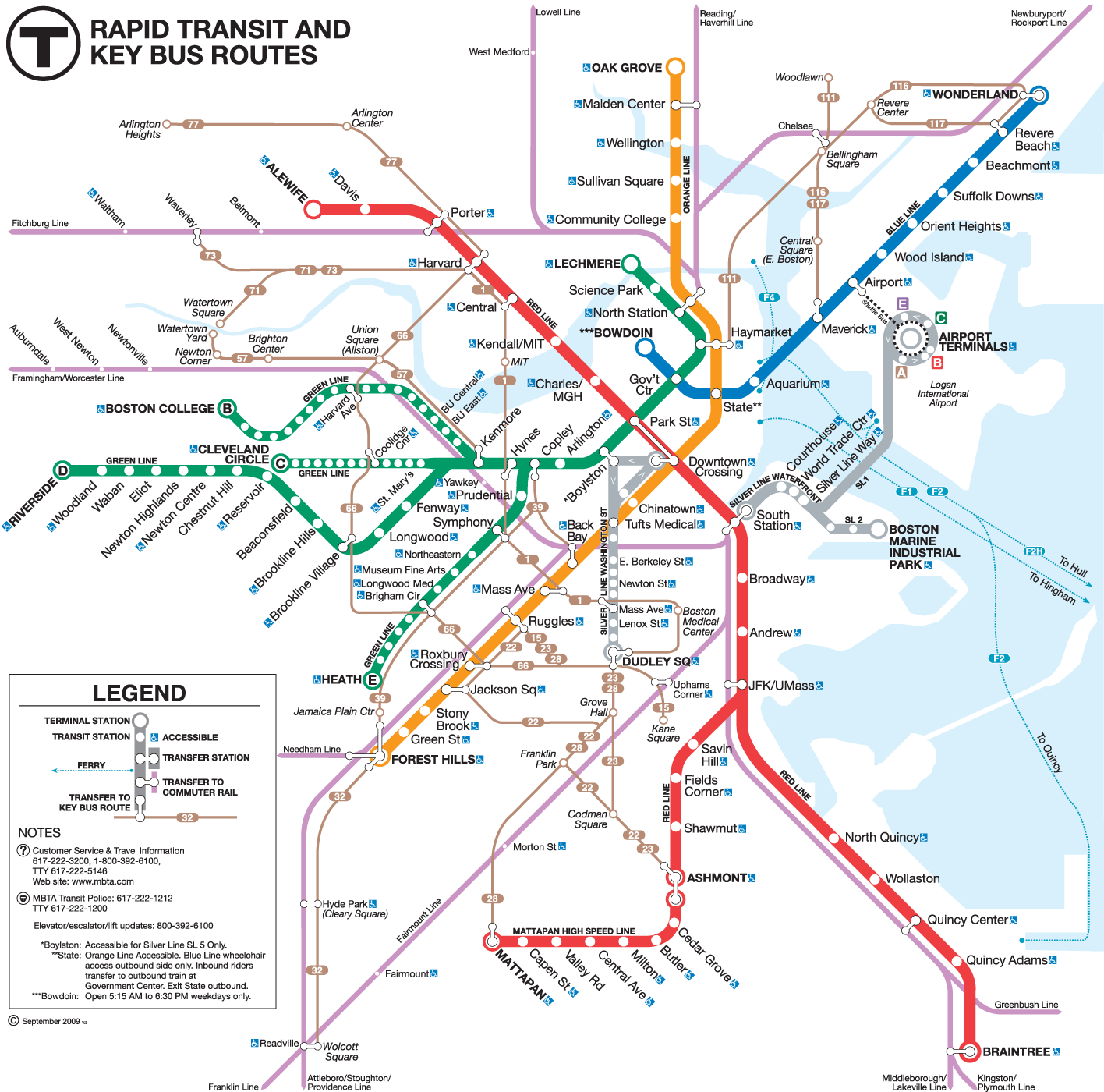 Boston Bus Connection Map large map
