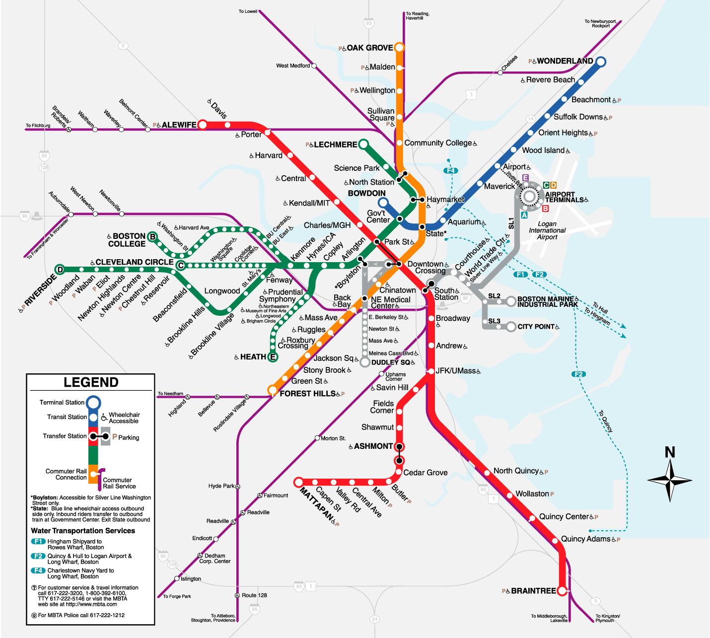 Boston Subway Map (metro) large map