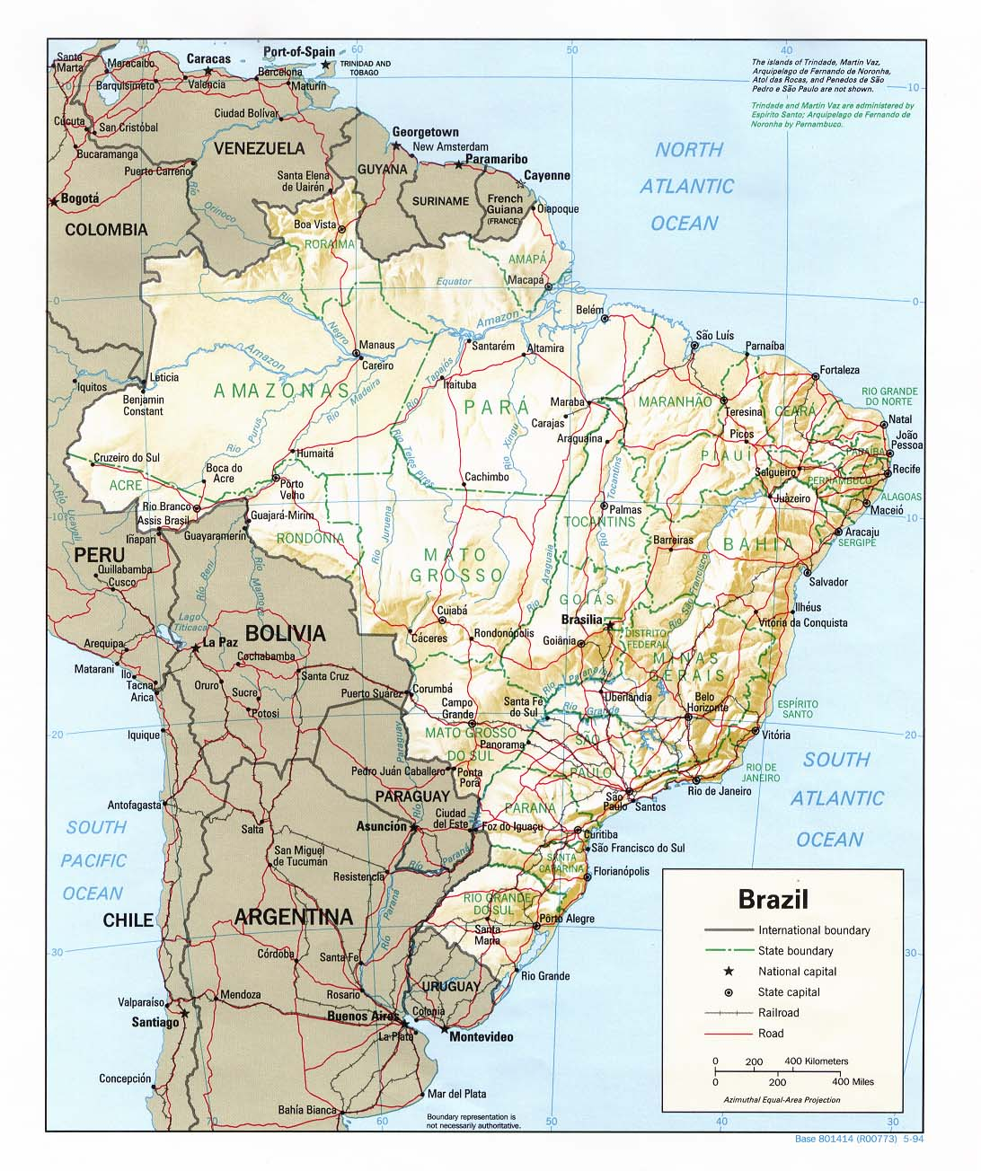 Brazil Shading Relief Map 1994