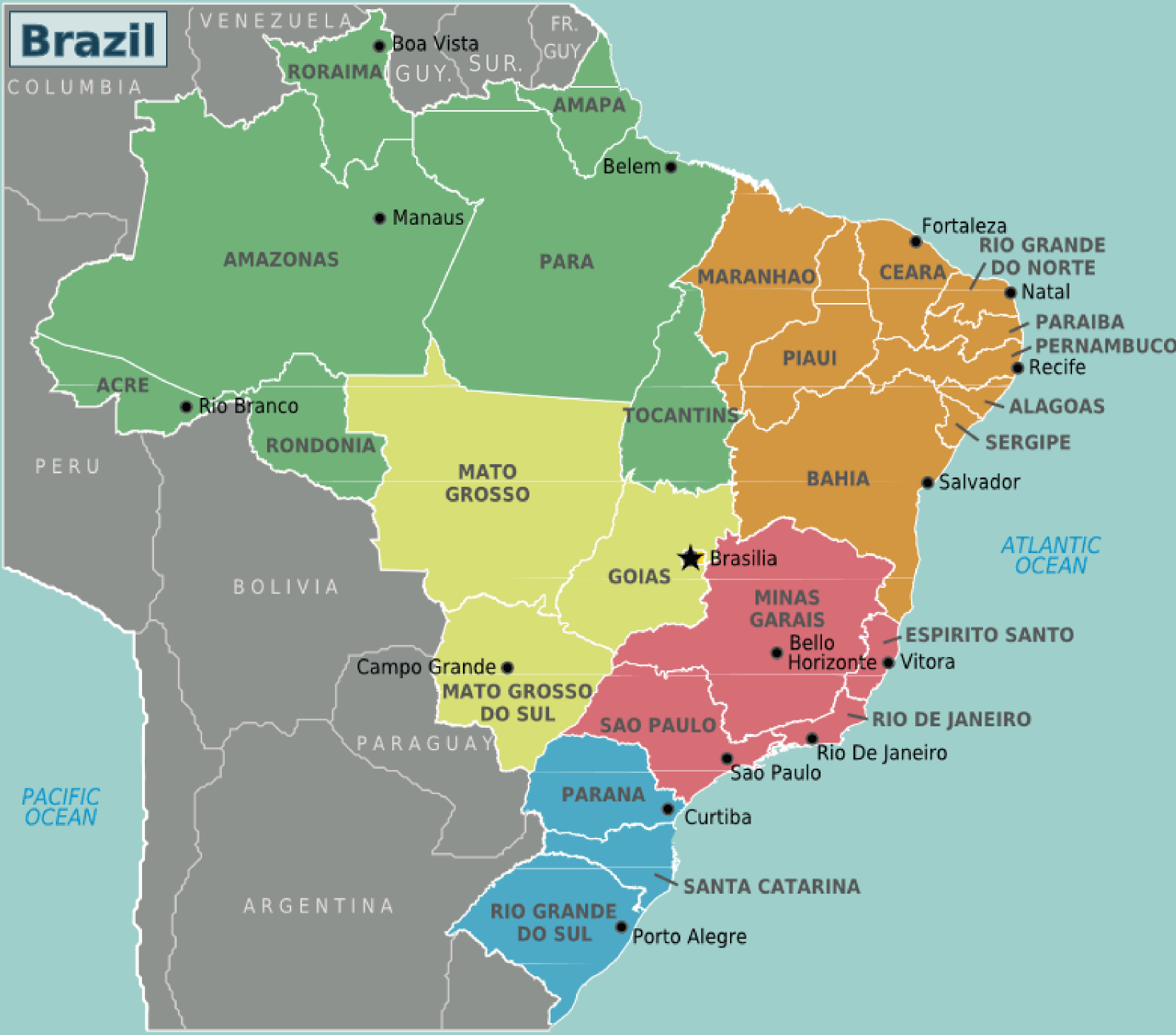 Brazil Regions Mapsofnet - Brazil political map