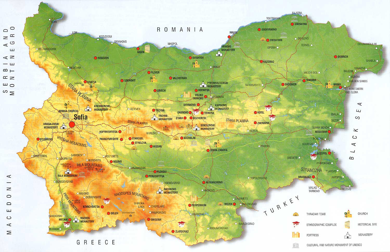 Bulgarian Map large map